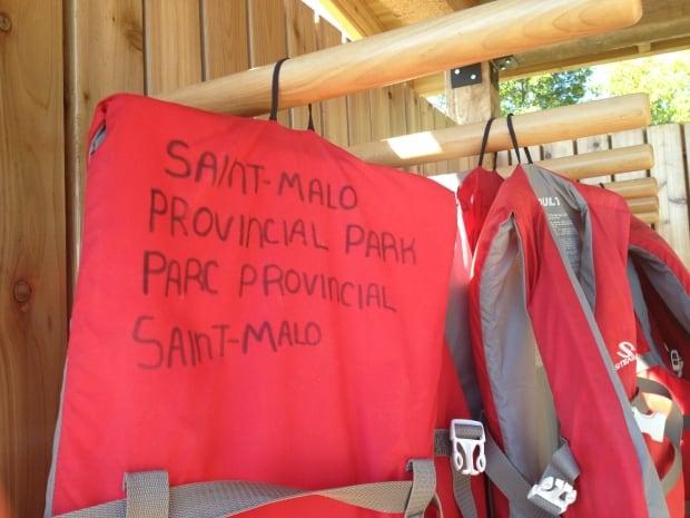 Life jackets at St. Malo Provincial Park beach