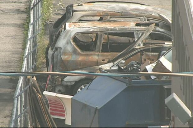 Damaged vehicles in North York