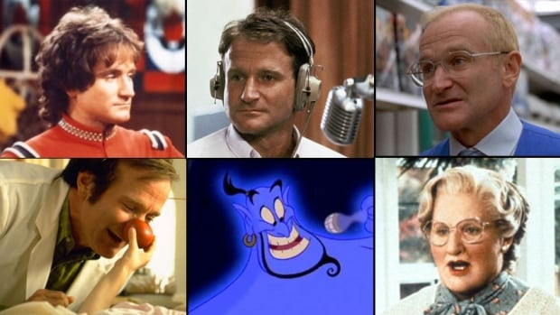 Robin Williams, who was found dead on Monday from an apparent suicide, played many characters in a nearly four-decade career. His film and TV credits included, clockwise from top left: Mork from Mork & Mindy, Good Morning, Vietnam, One-Hour Photo, Patch Adams, Aladdin and Mrs. Doubtfire.