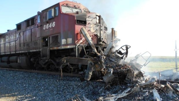 A CP Rail train derailed near Caron, Sask. after it collided with a semi Monday afternoon.