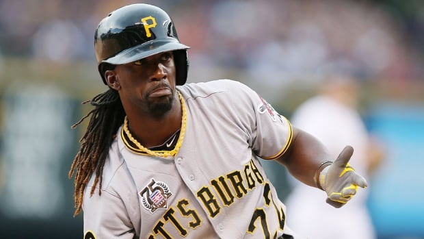 Pirates centre-fielder Andrew McCutchen was placed on the 15-day disabled list Monday with a broken rib. The reigning NL MVP tops the playoff-contending Pirates in