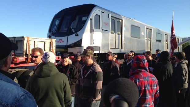 Bombardier moved three TTC subway cars through the picket line at the Thunder Bay plant on Tuesday.