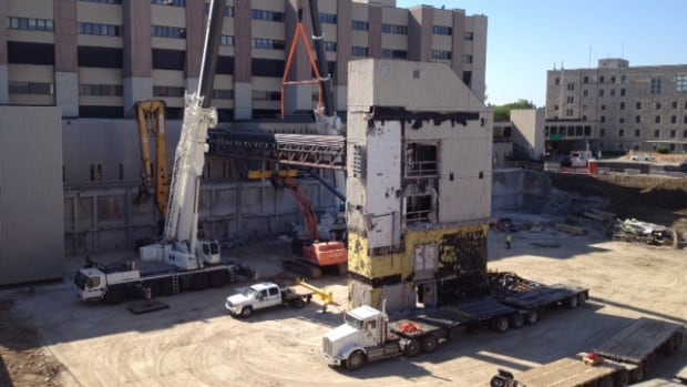 The skywalk linking Royal University Hospital with its parkade is being destroyed today.