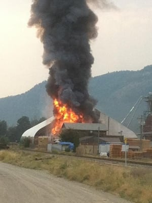 Flames rip through Coldstream Lumber in the Okanagan.