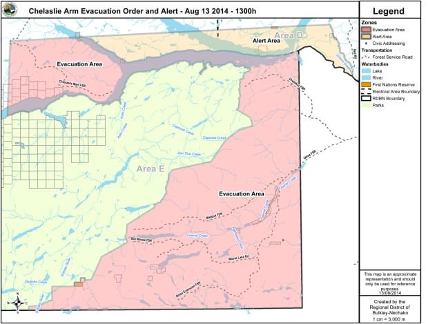Chelaslie Arm Evacuation Order and Alert - Aug 13 2014 - 1300h