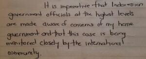Jailhouse letter