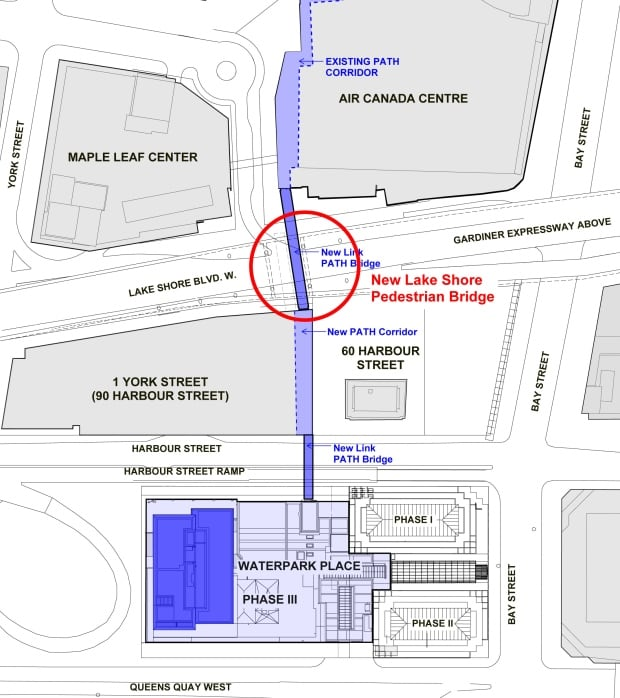 Map of pedestrian connection across the Lakeshore.