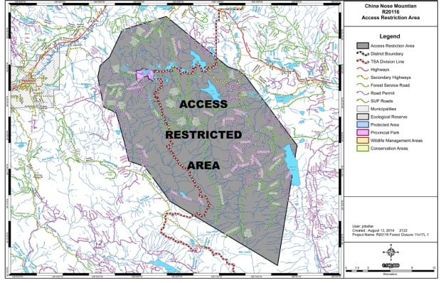 China Nose wildfire area restriction