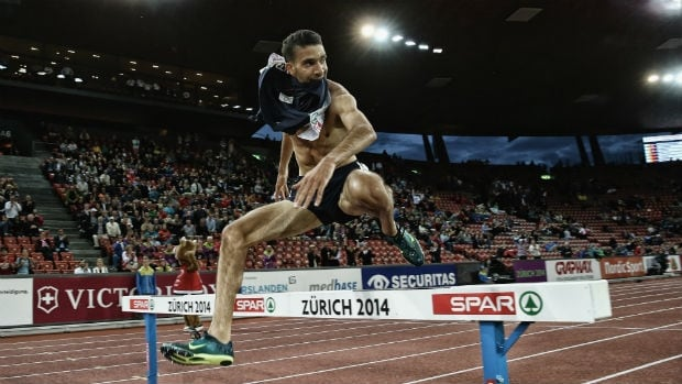 Mahiedine Mekhissi-Benabbad of France celebrates during the final moments of the men's 3,000-metre steeplechase.