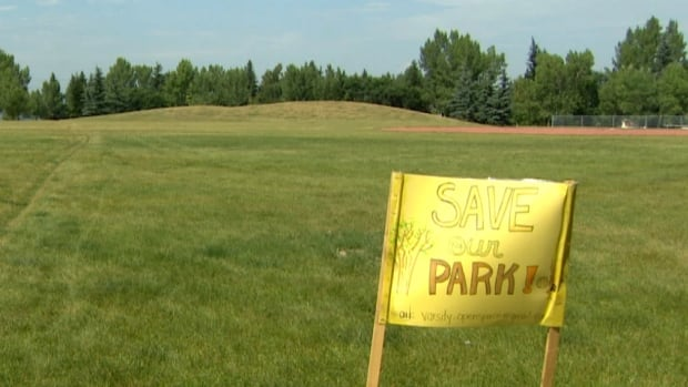 This green space in northwest Calgary is the proposed site of the new Christine Meikle School, a facility for students with special needs. Several Varsity Acres residents are suing the public school board in a bid to stop it.