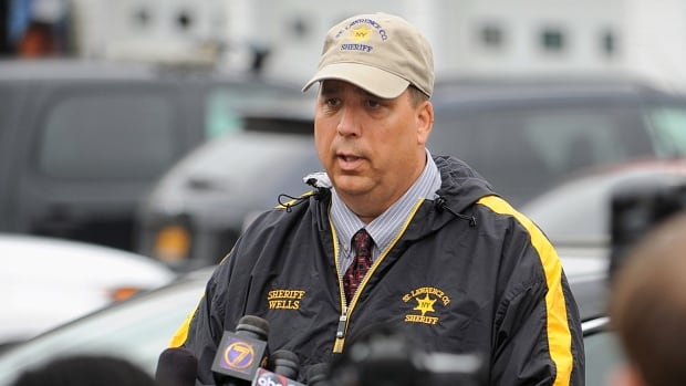 Kevin M. Wells, St. Lawrence County, N.Y., sheriff, briefs the media on Friday into the investigation into the abduction of two Amish sisters from a family roadside vegetable stand two days earlier.