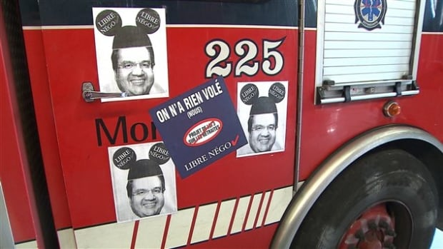 As a sign of protest, firefighters and police officers have plastered their vehicles with stickers denouncing the province's proposed Bill 3.
