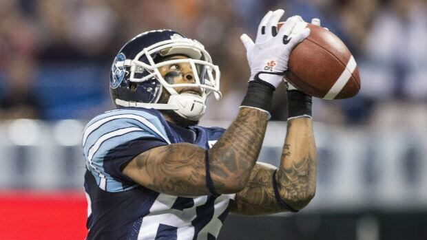 Toronto Argonauts' Maurice Mann catches a touchdown pass during the team's win against the Winnipeg Blue Bombers on Tuesday, Aug. 12.