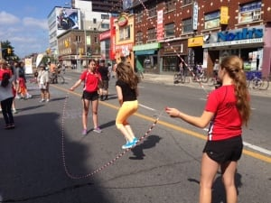Skipping rope on Yonge Street