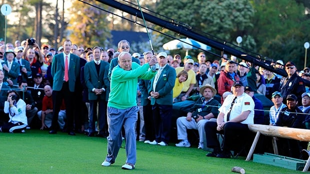 Hall of Famer Arnold Palmer, 84, hits a ceremonial shot to kick off the Masters at Augusta National Golf Club on April 10, 2014.