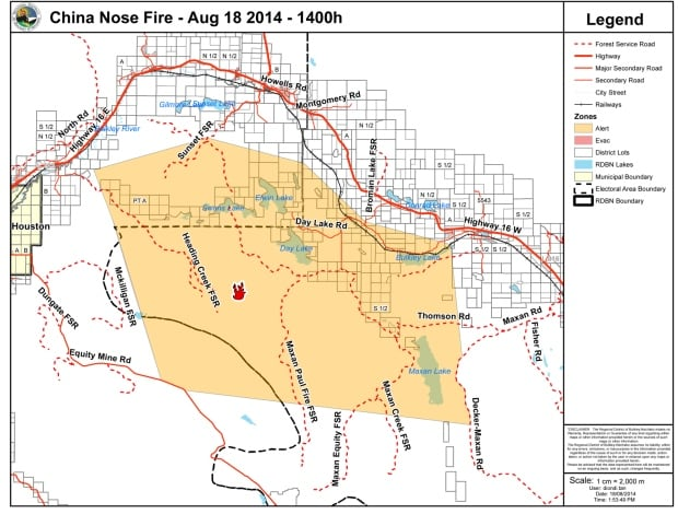 China Nose Fire evacuation alert 18 August