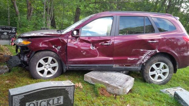 Seventeen headstones were damaged after a crash at the St. John's Anglican Church cemetery in New Germany.