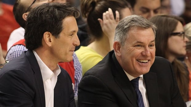 Maple Leaf Sports and Entertainment president and CEO Tim Leiweke, right, seen here enjoying a laugh with Toronto Maple Leafs president Brendan Shanahan, reportedly is preparing to leave the company. Besides helping bring Shanahan to the Leafs, Leiweke also oversaw the hiring of GMs Masai Ujiri with the Raptors and Tim Bezbatchenko with Toronto FC during his short time in the city.