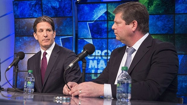 Maple Leafs president Brendan Shanahan, left, has rebuilt GM Dave Nonis's staff this off-season.