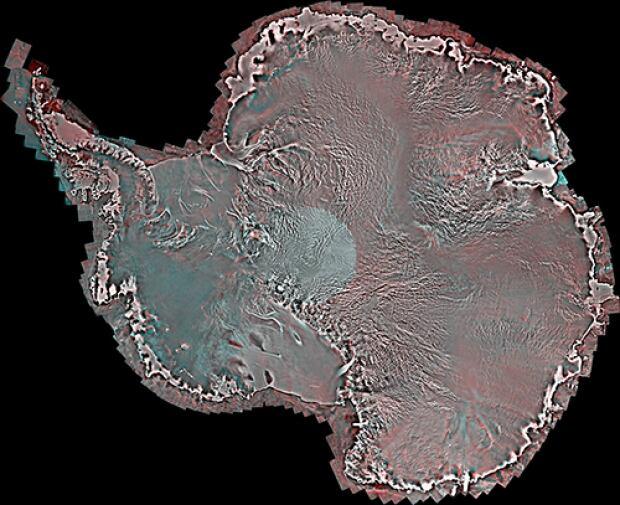 Mosaic of satellite images of Antarctica taken by RADARSAT-2