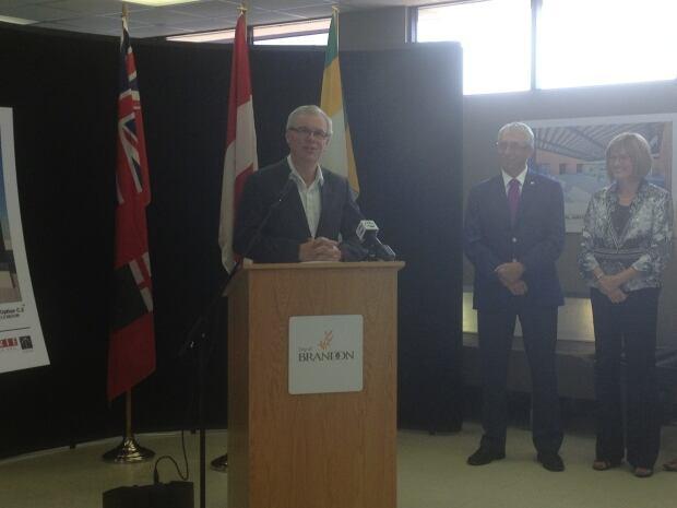 Greg Selinger at Brandon airport announcement