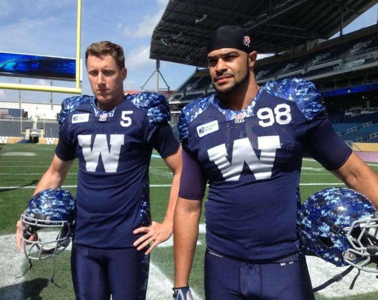 3f93e7afa53 Winnipeg Blue Bomber Drew Willy and Jason Vega donned new special edition  jerseys on Tuesday. (CBC)