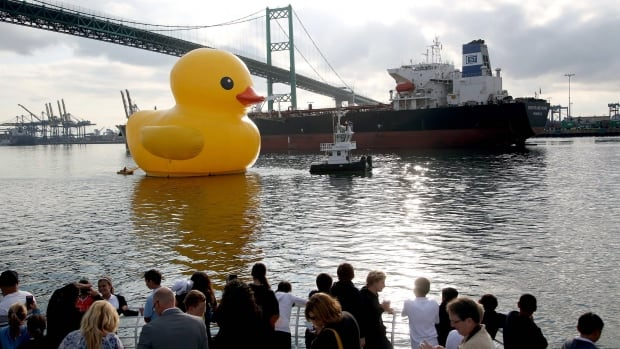 Dutch artist Florentijn Hofman's giant inflatable duck sailed into the Port of Los Angeles on Wednesday for the city's tall ships festival.