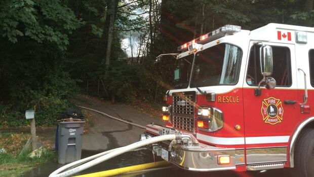 The fire destroyed an abandoned house in a forested section of 16 Avenue in South Surrey.
