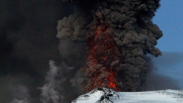 A fresh cloud of ash and lava eruptions are seen in the volcano under the Eyjafjallajokull glacier in Iceland in May 2010.