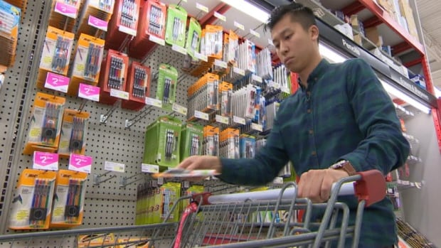 CBC News reporter Adrian Cheung checked the prices for a list of supplies for a Grade 7 student and found the bill reached $125.