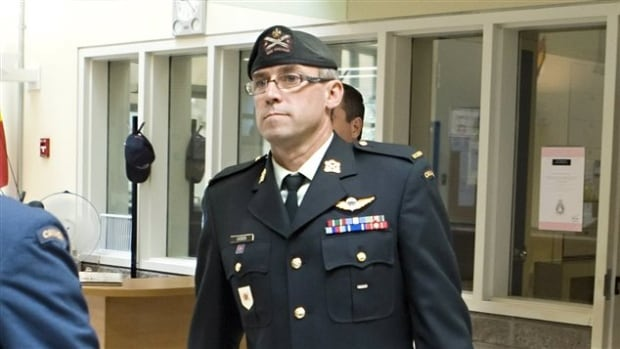 Warrant Officer André Gagnon pictured at court martial proceedings last year. His jury found him not guilty on charges of sexual assault dating from 2011.