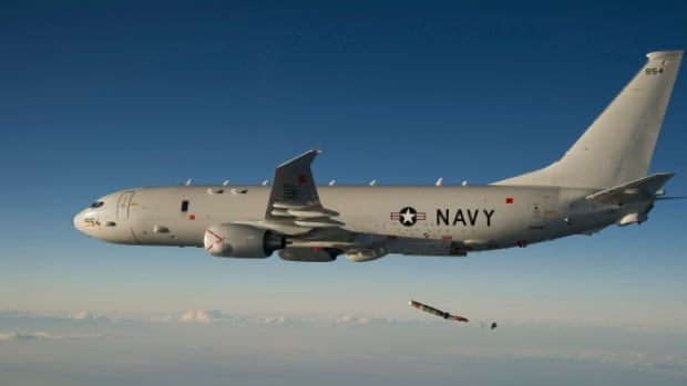 A Chinese jet did a roll manoeuver over the top of a Poseidon P-8 like this one and passed across the nose of the U.S. Navy plane, a navy spokesman said Friday.