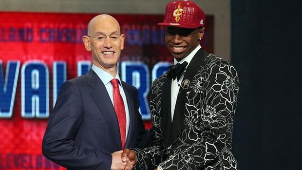 Canada's Andrew Wiggins, right, has officially been dealt from the Cavaliers to Minnesota. He would become just the second No. 1 overall draft pick to be traded without playing a game for the team that drafted him since the ABA, NBA merged in 1976.