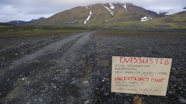A warning sign blocks the road to Bardarbunga volcano. The threat of an eruption  has increased, according to the Icelandic Meteorological Office, with 'intense seismic activity' and 'ongoing magma movement.'