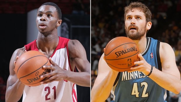 Andrew Wiggins, left, and fellow Canadian Anthony Bennett have been traded by the Cleveland Cavaliers to Minnesota, which dealt power forward Kevin Love, right, to the Cavaliers in a three-team trade with Philadelphia.
