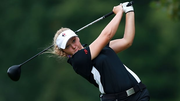 Brooke Henderson of Smiths Falls, Ont., hits from the fifth tee box in the Canadian Women's Open at London, Ont., on Aug. 23.  The 16-year-old phenom is one of the many young women golfers enjoying success on the LPGA Tour early in her pro career.