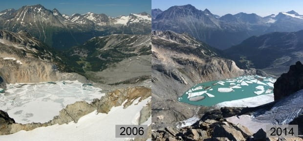 Decker Glacier at Whistler Blackcomb in 2006 and 2014