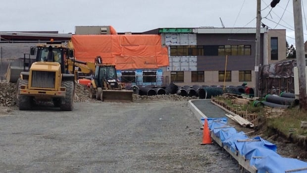 Construction materials still crowd Roncalli Elementary in the Airport Heights neighbourhood of St. John's.