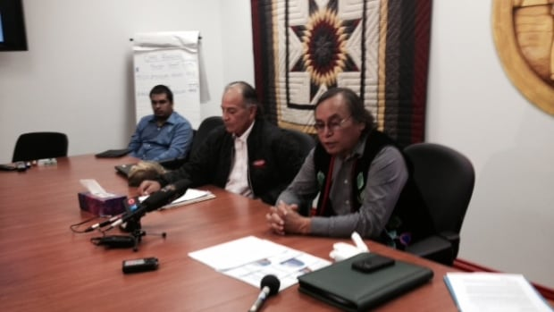 Grand Chief Terrance Nelson and former grand chief Murray Clearsky address the media in Winnipeg on Monday.