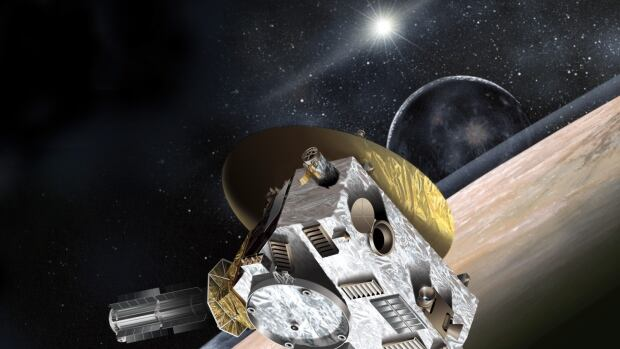 The New Horizons spacecraft is seen arriving at Pluto in this artist's conception. The encounter is scheduled to take place July 14, 2015.