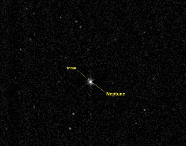 Neptune and Triton on New Horizons spacecraft