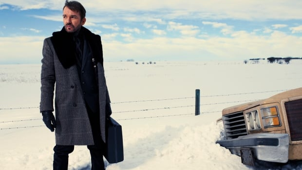 This photo released by FX Networks shows Billy Bob Thornton as Lorne Malvo in Fargo.  The TV series has 18 nominations and one win for the 2014 Emmy Awards. The 66th Primetime Emmy Awards are on Monday night,