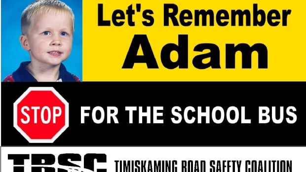 Adam Ranger was just five years old when he was killed in 2000 by a truck that failed to stop for his school bus. These signs dot highways around the northeast now—a reminder to people to be mindful of stopped school buses.