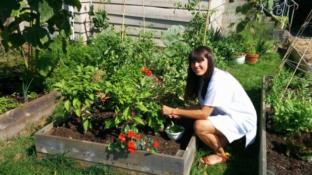Sam Philips shows off her summer crop of basil. Late August is the perfect time to harvest the garden herb.
