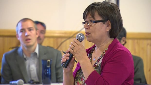 Mary Wilman speaks at a public meeting August 25. Wilman has been the city's acting mayor most of the time since John Graham resigned at the end of June and will remain in that position for now. City councillor Kenny Bell can be seen in the background.