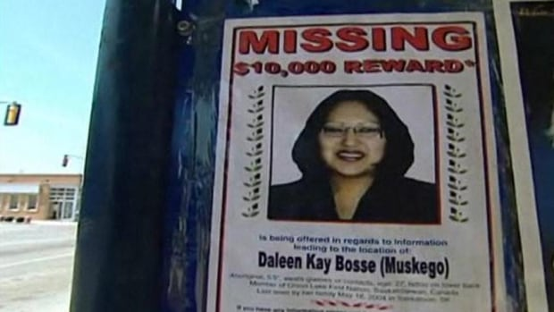 Daleen Bosse, one of Saskatchewan's missing aboriginal woman, was a mother and university student in Saskatoon when she disappeared in 2004. Her remains were later found and a man was put on trial for her murder.