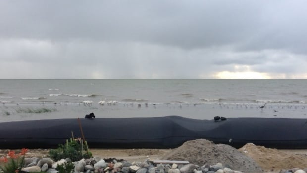 Wind gusts of up to 55 kilometres an hour blew through the Twin Lakes Beach area Monday.