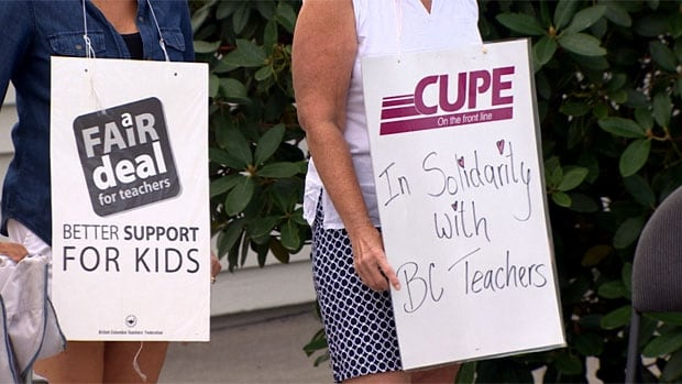 With no end in sight to the ongoing contract dispute, B.C.'s striking teachers resumed picketing outside schools this week. Now some teachers are offering child care for parents who have nowhere to put their kids once classes are supposed to resume next week.