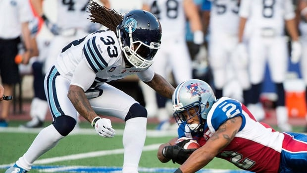 Dwight Anderson, left, was one of three players released by the Argonauts on Tuesday.  The eight-year veteran had 27 tackles and three quarterback sacks in seven games following a trade from Saskatchewan. Running back Jeremiah Johnson and receiver Terrell Sinkfield were the other players cut.