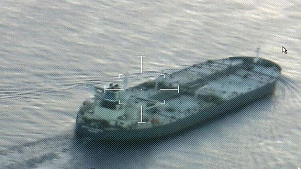 A still image from video taken by a U.S. Coast Guard HC-144 Ocean Sentry aircraft shows the oil tanker United Kalavyrta carrying a cargo of Kurdish crude oil, approaching Galveston, Texas last month.